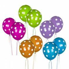Assorted Polka Dot Balloons Rainbow Party Supplies Balloon Decorations Party Polka Dot Balloons