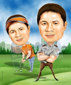 Police Golf Caricature