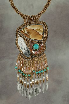 Sahara Picture jasper and turquoise cabochons. Native American Beadwork - Sue Horine on Flickr