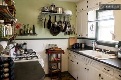 Shared kitchen in the main house - includes gas stove, oven, fridge, washer/dryer