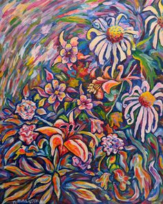 ORIGINAL Acrylic Painting Lillies Daisies Rose - Wild Flowers, $180
