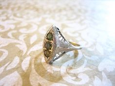 Victorian Sterling Silver Filigree Ring w Green by charmingellie, $47.00