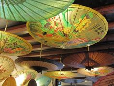 Umbrellas as beautiful ceiling decorations