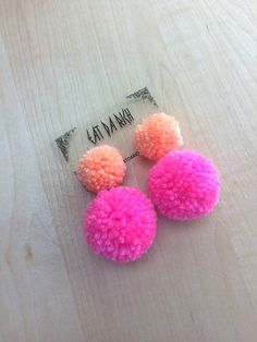 Pom Pom Earrings - Choose Your Color by EatDaRich on Etsy