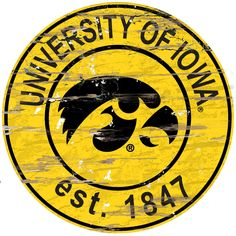 Iowa Hawkeyes Wood Sign - 24 Round (backorder)