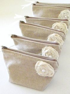 Rustic Fall Wedding Bridesmaid Clutches with Ivory Fabric Roses, Linen Bridesmaid Purse - Set of 4