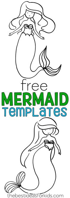 Free Mermaid Templates - use these for mermaid coloring pages or a mermaid craft. Perfect to use for a mermaid birthday party activity! Birthday Games, Birthday Crafts, Girl Birthday, Birthday Board, Birthday Parties, Cake Birthday, Happy Birthday, Husband Birthday, Tea Parties