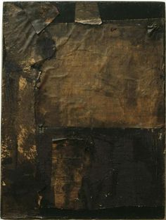 Robert Rauschenberg, Untitled [small vertical black painting] CA. 1951 Oil and newspaper on canvas on ArtStack #robert-rauschenberg #art