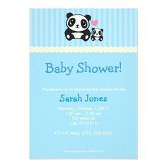 Panda Baby Shower - Blue Card