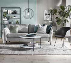 County soffa från Mio. Mid-century Modern, Living Room Decor, Couch, Pillows, Bed, Interior, Furniture, Home Decor, Design