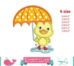 Applique Design Mini Spring Duck In Puddle With by EmbryLab