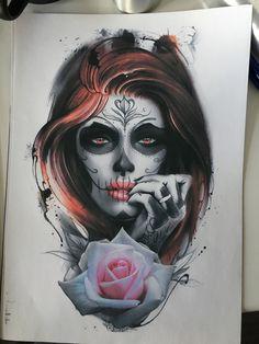 Tattoo Sergey Schegolev - tattoo's photo In the style Chicano, Realistic, Girls, Flowe Evil Skull Tattoo, Skull Rose Tattoos, Skull Girl Tattoo, Tattoo Girls, Girl Tattoos, Woman Face Tattoo, Chicano Tattoos Sleeve, Sleeve Tattoos For Women, Leg Tattoos