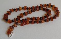 Amber Necklace with Red Tiger Eye Stones Sterling by Smokeylady54