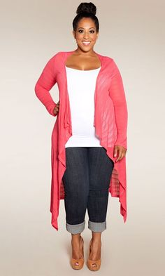 The ultimate in layering versatility, pair with a plus size long sleeve tee or our Pretty Cami. An essential long, light-weight knit sweater cardigan that's virtually season less in possibility!