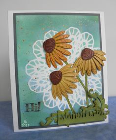 Dee's Distinctively dies via Ecstasy Crafts Metal Flowers, Card Designs, Daisies, Paper Cutting, Stampin Up, Ali, Birthday Cards, Projects To Try, Card Making
