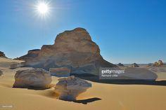 Photo : Sun over Rock Formations in White Desert, Libyan Desert, Sahara Desert, New Valley Governorate, Egypt