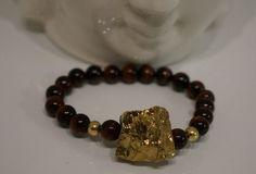 Gold Nugget Charm, Tigers Eye Beaded, Meditation/Energy, Stretch band Bracelet
