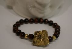 Gold Nugget Charm, Tigers Eye Beaded, Meditation/Energy, Stretch band Bracelet