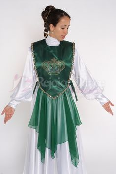 Short V Ephod with Pointed Chiffon Skirt and Crown - Praise & Worship Dance Wear