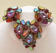 Vintage Elsa Schiaparelli GoldTone Red Iridescent Lava Earrings Brooch Set