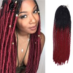 Ombre Faux Locs Crochet Dread Locks Synthetic Marley Twist Braid Hair Extension #AOSOME #Dreadlocks