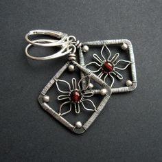 Flower Squares Earrings Wire Wrapping Jewelry by SilverDetails, $9.00