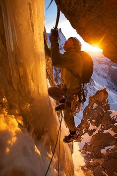 High up on the West Couloir of the Aiguille du Plan at sunset