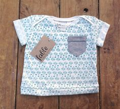 Organic Cotton Pocket Tee - Turquoise Carnival on Cream. $39.00, via Etsy.
