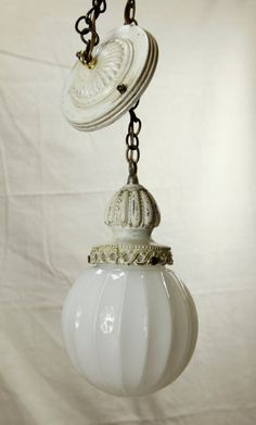 Art Nouveau Hanging Cast Art Glass Pendant Light by ReImagineUpCycling on Etsy