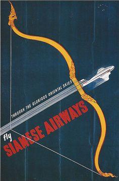 Munetsugu Satomi Poster Artwork / Siamese Airways 1949