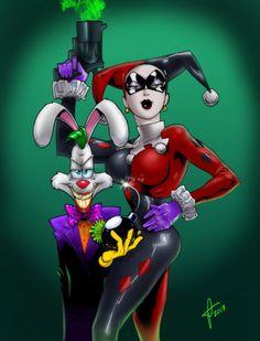 Mash-up! The Joker as Roger Rabbit and Harley Quinn as Jessica Rabbit. #Mashup…