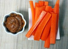 Carrots with sesame peanut dipping sauce