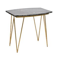 SUZY GB - Hairpin side table in gold leaf with black marble top,