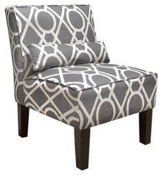 Bergman Armless Cotton Chair, Gray/White