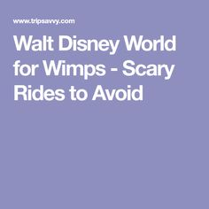 Walt Disney World for Wimps - Scary Rides to Avoid
