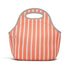 BUILT NY Gourmet Getaway Lunch bag in Neon Stripe Coral