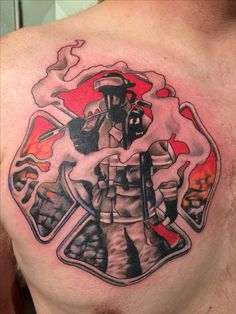 Firefighter & Smoke Maltese Tattoo (chest) | Shared by LION
