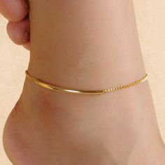 Wholesale Simple Solid Color Glazed Bent Tube Anklet For Women Only $0.97 Drop Shipping | TrendsGal.com