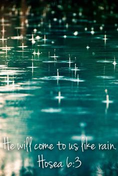 Let us acknowledge Yahweh. Let us press on to know Yahweh. As surely as the sun rises, Yahweh will appear. He will come to us like the rain, like the spring rain that waters the earth. Hosea 6:3