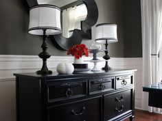 Gray Dining Room With White Wainscoting