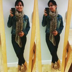 Casual look with denim and animal print scarf