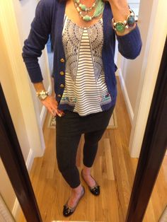 OOTD...CAbi Spring '14 M'Leggings, Harlow Cami and Fall '11 Cadet Cardigan. www.nancydowning-schloss.cabionline.com  You all know how much I LOVE our M'Leggings!  I would wear them everyday if I could...