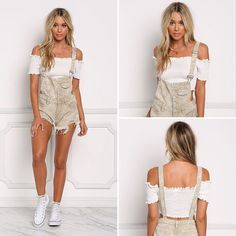 Khaki Distressed Button Up Shorts Overalls.❤️❤️ 🏭Clothing Manufacturer/OEM service  📱WhatsApp:+86-18825047270