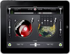 djay . a full-on virtual dj system for the ipad, offering two virtual turntables, mixer, tempo, and eq controls, direct access to your ipad's music library, airplay integration, bpm analysis with automatic beat and tempo matching, the ability to record your sets, an automix mode, and support for 4.2 multitasking so it can keep playing while you keep up with your pinning (bonus... it's on sale for half price)