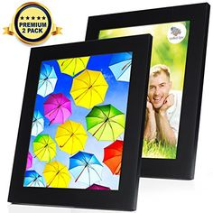 Wood Picture Frame 8x10 Black  2 Set  Wood Photo Frame  4 Extra Mats Good for 5x7 and 3x5 Photos  Hanging and Standing Horizontally or Vertically  Wooden Photo Frame ** Want to know more, click on the image.
