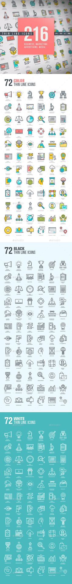 Set of Thin Line Icons for Business and Marketing #design Download: http://graphicriver.net/item/set-of-thin-line-icons-for-business-and-marketing/12118017?ref=ksioks