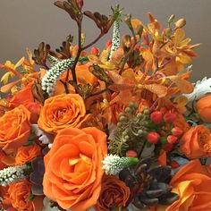 Kangaroo paws and succulents in an abundance of orange. OH MYYYYY!!!  #bridalbouquet #orangewedding #aprilweddings #kangaroopaws #succulents #roses #veronica #wedding #weddingwire #weddings2016 #aprilweddings #knotweddings #southjerseyweddings #southjerseyweddingflorist #carriagehouseweddings #dvflora by betinas