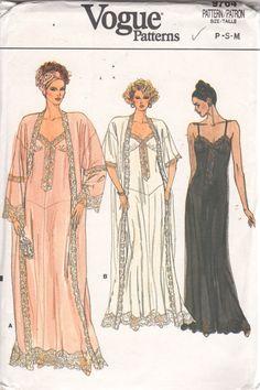 Vogue Pattern Women's Elegant Lingerie Robe Nightgown 9764 Size L XL Uncut Lingerie Patterns, Sewing Lingerie, Vintage Dress Patterns, Clothing Patterns, Vintage Dresses, Vintage Outfits, Elegant Lingerie, Vintage Lingerie, Purple Lingerie
