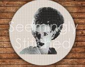 Counted Cross Stitch Pattern - Bride of Frankenstein - Instant Digital Download PDF