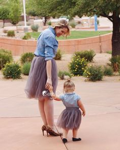 Claire Mommy and Me Ash Gray Tulle Skirts - Set of 2